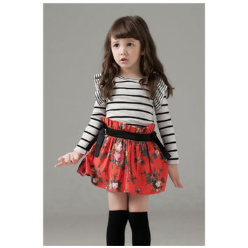 Siabhi One Piece Striped Red Floral Dress