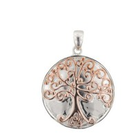 Southern Gates Sterling Silver Round Oak Pendant with Copper Accents