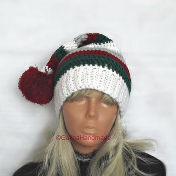 Christmas Baby Elf Hat, Baby Stocking Hat, Christmas Hat, Shaggy Santa Stocking Hat, Infant Santa Hat ,Pom Pom
