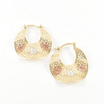 Filigree Flower Undulated Earrings Hoops