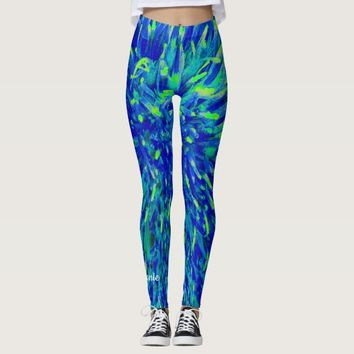 Blue and Green Abstract with Personalized Name Leggings