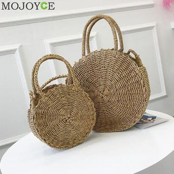 Woven Straw Round Handbag Retro Rattan Women Shoulder Bag Boho Summer Beach Messenger Bags Fashion Designer Female Handbag Totes