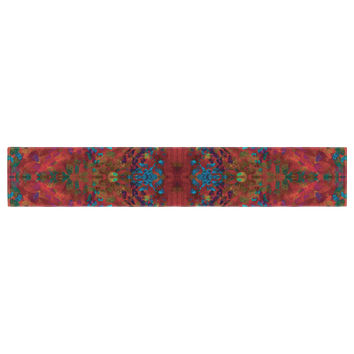"Nikposium ""Red Sea"" Orange Abstract Table Runner"