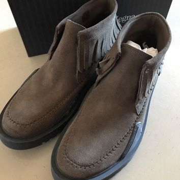 New $695 Ermenegildo Zegna Couture Suede Shoes Boots Brown 11 US Italy
