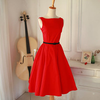 Red Dress - Christmas Party Dress - Red Bridesmaid Dress - Plus Size Dress - Party Dress