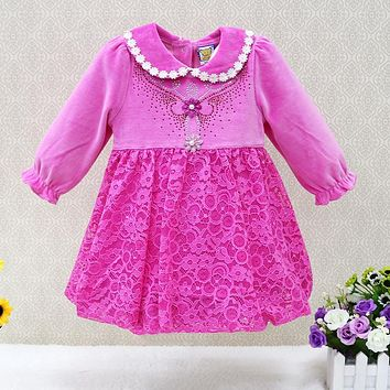 2017 New Arrival Long Sleeve Girls Dresses velour baby clothes Cotton Lace One Piece Knee-Length Infant Flower Cute Dress