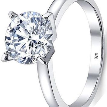 2 Carat Round Brilliant Cubic Zirconia CZ Sterling Silver 925 Wedding Engagement Ring