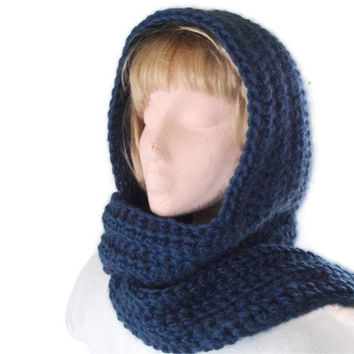 Crocheted Wool Scoodie, Hood & Scarf All In One in Petrol Blue for Men and Women. Winter Fashion Accessories, Hoodie,