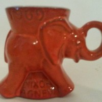 Vintage Red Frankoma Pottery Ceramic Elephant Mug GOP Nixon Agnew Republican