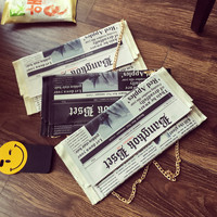 Newspapers modeling unique fashion personality letter envelope bag casual clutch purse evening bags with clothing handbag wallet