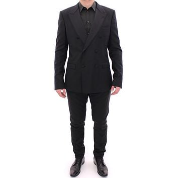 Black Striped Double Breasted Slim Fit Suit