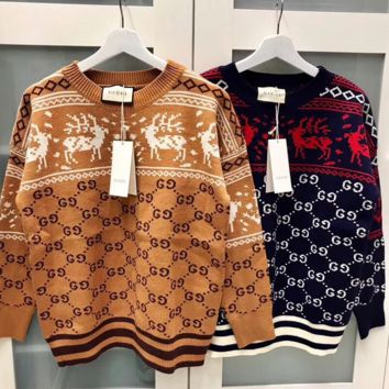 Gucci Women HOT SALE Round neck letters printed long sleeve sweater