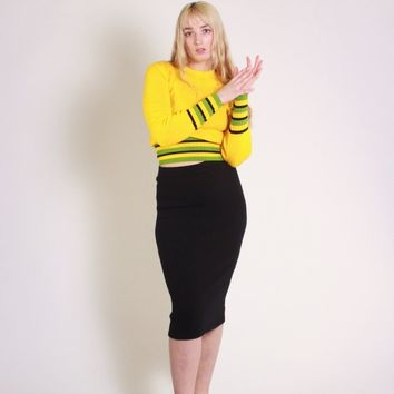 Black Wool Fitted Pencil Skirt / S M