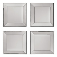 Office Star Time Square 4 Pc Wall Mirror Set with wide mirrored frames [SH9359]
