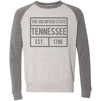 Adult Tennessee Grey Box Logo on Oatmeal and Grey Crew Sweatshirt