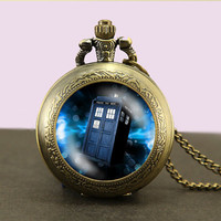 Doctor Who tardis Locket necklace,Doctor Who Necklace,Glass Pocket Watch Necklace