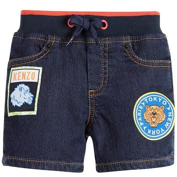 Kenzo Boys Denim Shorts With Patches