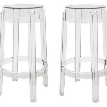 Clear Bettino Stools, Pair, Acrylic / Lucite, Bar & Counter Stools