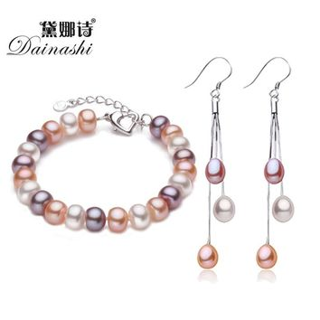 Dainashi TOP Quality Natural Pearl Earrings/Bracelet 925 Sterling Silver Buckle Chain Bracelet Earring Tassel Jewelry Sets