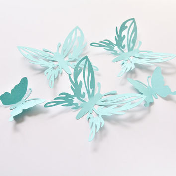 Butterfly Birthday Decorations - Large Blue Butterflies - 3D Paper Butterflies - Butterfly Decoration - Butterfly Wall Decor