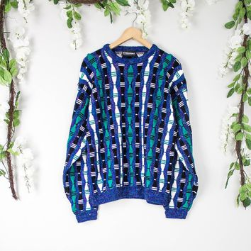 Vintage Coogi Inspired Blue Sweater