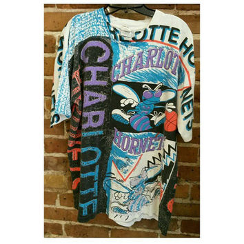 Vintage Charlotte Hornets Tee - 90s all over print Tee