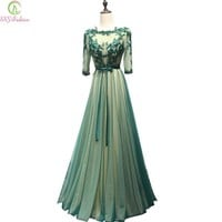 New Evening Dress Delicate Lace Embridery with Beading Green Backless Half Sleeves Long Party Gown Prom Dresses