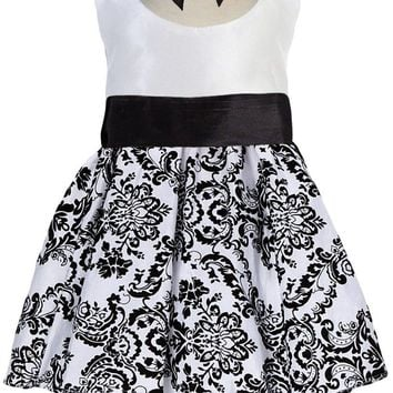 White Taffeta & Black Velvet Girls Dress w. Black Sash 3m-24m