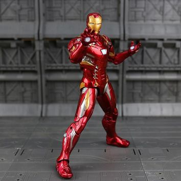 17cm/6.5in Iron Man Action Figure Captain America Civil War Tony Stark Model Superhero Avengers IronMan Figurine Free shipping