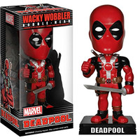 Deadpool Bobble Head Figure: Marvel Universe x Wacky Wobblers Series + 1 FREE Official Marvel Trading Card Bundle [44558]