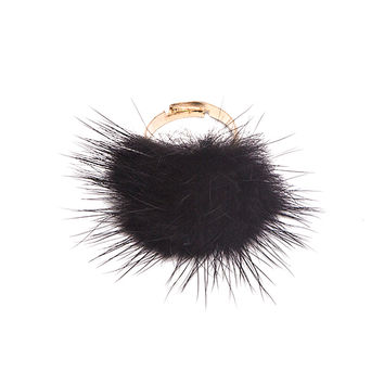 Black Furry Pom Ring