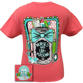 Girlie Girl Originals Nurses Are Amazing Mason Jar Bow Nurse Bright T Shirt
