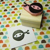 Ninja Hand Carved Rubber Stamp