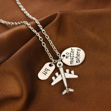 Wanderlust Travelers Best Friends Necklaces Gifts No Matter Where BFF Airplane Pendant Chain Necklace Love Travel Jewelry Collar