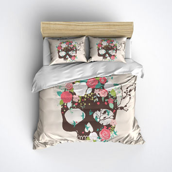 Sugar Skull Bedding -  Skull and Rose Print Comforter Cover - Sugar Skull Duvet Cover, Sugar Skull Bedding Set