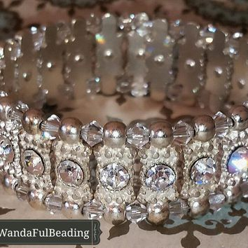 Crystal and Silver (other colors) 2 Stranded Beaded Memory Wire Bracelet size 7 to 8.5 inches