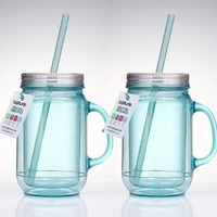 Cupture® 2 Vintage Blue Mason Jar Tumbler Mug With Stainless Steel Lid and Straw - 20 oz