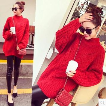 Long turtleneck maternity clothes loose autumn winter warm pregnant women joker thickening big sweater coat winter pregnant wome