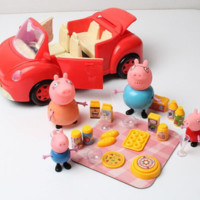 Peppa Pig 4pc Family With Car and Picnic Food Toys