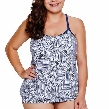 White Navy Blue Print Tankini 2pcs Bathing Suit