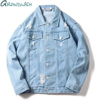 Trendy Grandwish Men Denim Jeans Jacket Ripped Holes Plus Size S-3XL Mens Jeans Jacket Blue Slim Fit 2018 New Casual Vintage Tops,DA716 AT_94_13