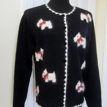 Vintage Scottie Dog Cardigan Sweater Red Christmas Bows Holiday Cardigan Black and White Knit Womens Medium