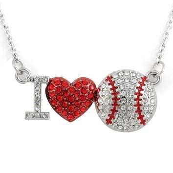 Silver Plated Word I Love Baseball Softball Heart Red Crystal Connector Pendant Sports Women & Girl Gift Necklace Maxi Jewelry
