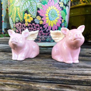 Ceramic Pigs With Wings Salt and Pepper Shakers