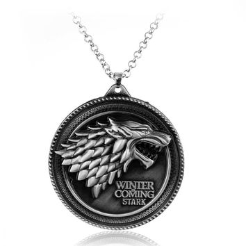 HGame of Thrones Necklace House Stark Wolf Logo Metal Round Pendant Winter Is Coming