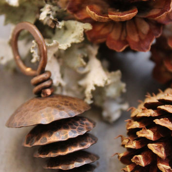 Pinecone Necklace With Leather Cord, Hammered Copper Pendant, Rustic Necklace, Copper Nature Necklace