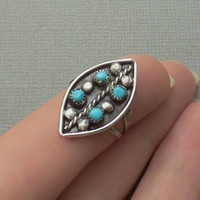 Vintage NATIVE American Indian Turquoise Zuni RING Petit Point Snake Eye STERLING Silver Zuni Rings Size 5 1/2 c.1950s, Old Pawn Jewelry