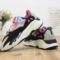 DCCK2 A398 Adidas Yeezy Boost 700 Ratro Casual Running Shoes Green Pink Black