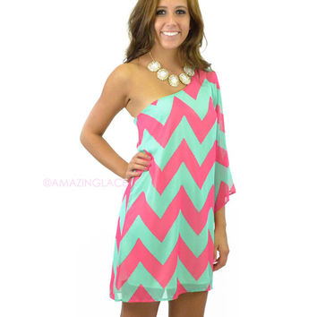 Charm City Coral Chevron Dress