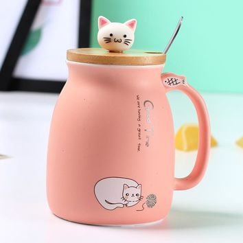 Kitty cat ceramic cup creative coffee mug with lid with spoon